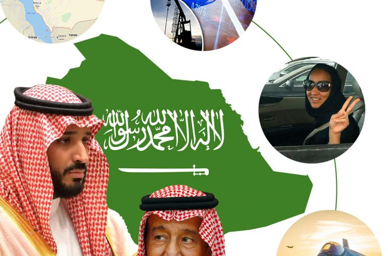 MbS, King Salman, Saudi map, fighter jet