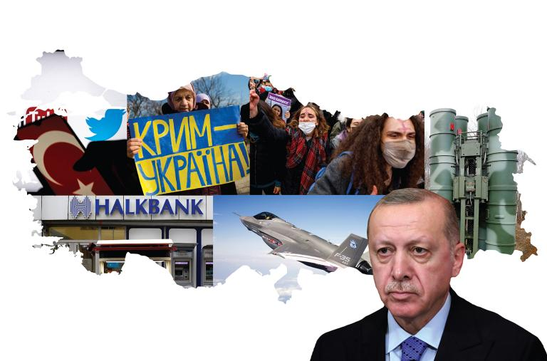 Erdogan, Turkish protestors, Halkbank, Twitter images