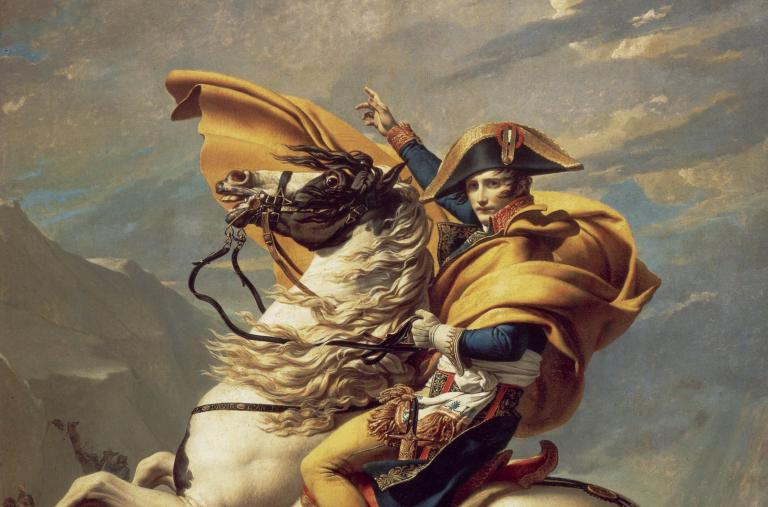 "The artist Jacques-Louis David's painting ""Napoleon Crossing the Alps"""
