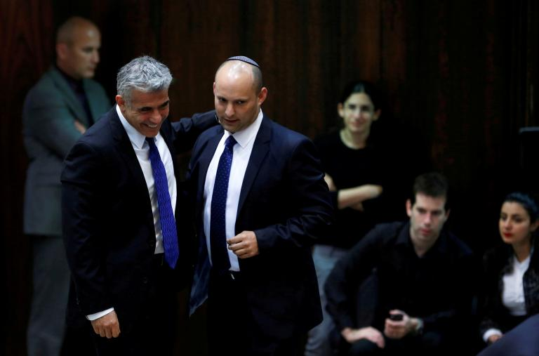 Israeli politicians Yair Lapid and Naftali Bennett