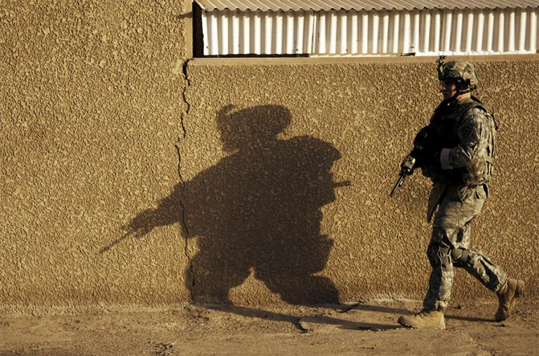 A U.S. Army soldier on patrol in Iraq