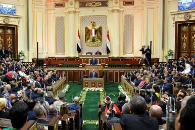 Egyptian president Sisi is sworn in to a second term in Parliament in 2018.