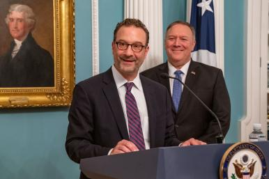 Assistant secretary of state David Schenker speaks at the Department of State in Washington, DC, alongside secretary of state Mike Pompeo