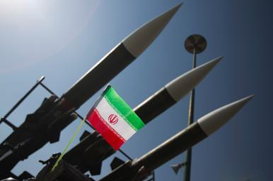 Iranian rockets and flag