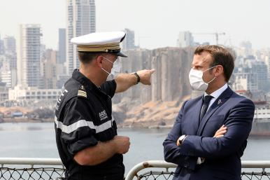 Frech president Emmanuel Macron inspects the site of the Beirut port explosion