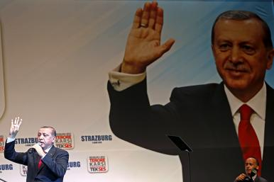 Turkish President Recep Tayyip Erdogan delivers a speech