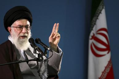 Iran's supreme leader, Ayatollah Ali Khamanei, gestures while speaking
