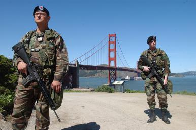 National Guard soldiers on a counterterrorism patrol in San Francisco