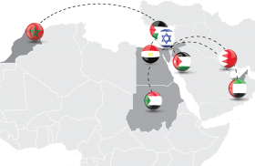 Map highlighting Israel, Palestinian Authority, UAE, Bahrain, Sudan, Morocco