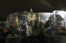 National Guard soldiers protect the United States Capitol building.