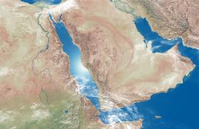 Satellite image of the Red Sea region and the Arabian Peninsula